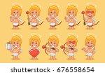 character set cupid in various... | Shutterstock .eps vector #676558654