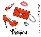 female fashion set composition. ...   Shutterstock .eps vector #676562845