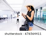 woman with smartphone at... | Shutterstock . vector #676564411