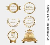 golden badges set high quality... | Shutterstock .eps vector #676570399