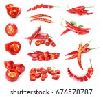 Collage Of Chili Peppers On...