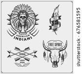 set of american indian labels ... | Shutterstock .eps vector #676581595