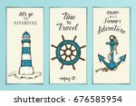 vintage nautical banners with... | Shutterstock .eps vector #676585954