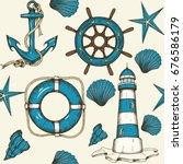 vintage nautical seamless... | Shutterstock .eps vector #676586179