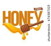 pure honey  symbol  logo  label ... | Shutterstock .eps vector #676587325