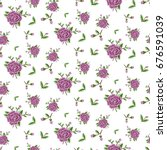 seamless floral pattern rose... | Shutterstock .eps vector #676591039