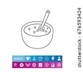 bowl with porridge line icon | Shutterstock .eps vector #676593424