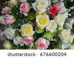 a bouquet of colorful roses for ...   Shutterstock . vector #676600204