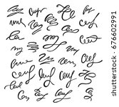 set of hand drawn calligraphic... | Shutterstock .eps vector #676602991