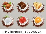 fruit  berries and nuts. milk... | Shutterstock .eps vector #676603327