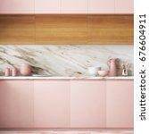 mockup interior of the kitchen... | Shutterstock . vector #676604911
