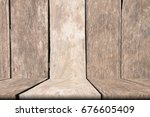 old wooden table of brown copy... | Shutterstock . vector #676605409