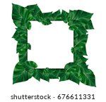 creative layout made of leaves... | Shutterstock . vector #676611331