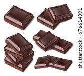 set of piece chopped chocolate... | Shutterstock . vector #676614391