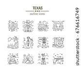 vector texas black and white... | Shutterstock .eps vector #676616749