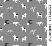 horse pattern seamless pattern...   Shutterstock .eps vector #676621021