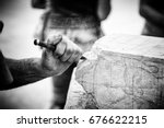 carving stone  craftsman... | Shutterstock . vector #676622215