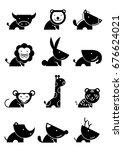 twelve icon wildlife in black... | Shutterstock .eps vector #676624021