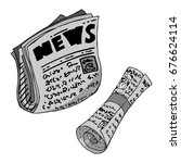 a gray newspaper painted by...   Shutterstock .eps vector #676624114