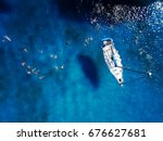 aerial shot of beautiful blue... | Shutterstock . vector #676627681