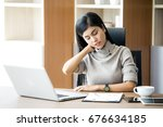 asian woman working  hard and... | Shutterstock . vector #676634185