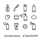 vector line art cosmetics icons ...