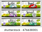 set of colorful stickers in... | Shutterstock .eps vector #676638301