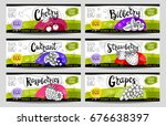 set of colorful stickers in... | Shutterstock .eps vector #676638397