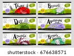 set of colorful stickers sketch ... | Shutterstock .eps vector #676638571