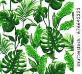 tropical palm leaves background.... | Shutterstock .eps vector #676642321