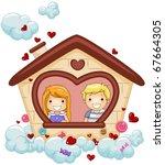 illustration of kids looking... | Shutterstock .eps vector #67664305