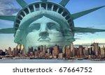 photo new york city skyline with statue liberty - stock photo