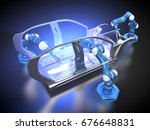 3d rendering  car frame and... | Shutterstock . vector #676648831