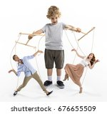 little boy puppeteer... | Shutterstock . vector #676655509