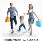 smiling parents with shopping... | Shutterstock . vector #676655515