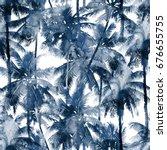 tropical watercolor pattern.... | Shutterstock . vector #676655755