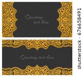 set of elegant lace greeting... | Shutterstock .eps vector #676658491