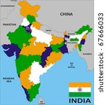 india map with states and... | Shutterstock . vector #67666033