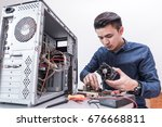 the technician put the cpu... | Shutterstock . vector #676668811