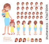 front  side  back view animated ... | Shutterstock .eps vector #676673044