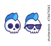 cool cartoon punk rock skull... | Shutterstock .eps vector #676674361
