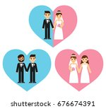 equal marriage concept... | Shutterstock .eps vector #676674391