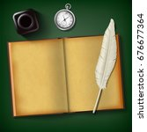 notepad and feather with an... | Shutterstock .eps vector #676677364