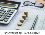 stacked of coins with... | Shutterstock . vector #676685824