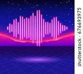 retro gaming neon background... | Shutterstock . vector #676693975