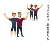 male friendship concept  couple ... | Shutterstock .eps vector #676694131