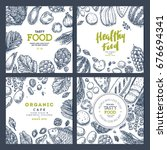 healthy food banner collection. ... | Shutterstock .eps vector #676694341