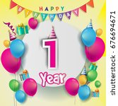 1st years anniversary... | Shutterstock .eps vector #676694671