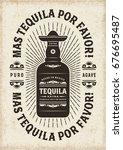 vintage mas tequila por favor ... | Shutterstock . vector #676695487