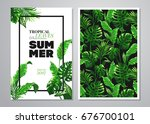 tropical palm leaves background.... | Shutterstock .eps vector #676700101